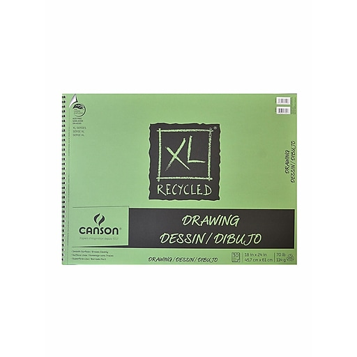 Canson XL Recycled Drawing Pads 18 in. x 24 in. pad of 30 sheets wire bound top [Pack of 2]