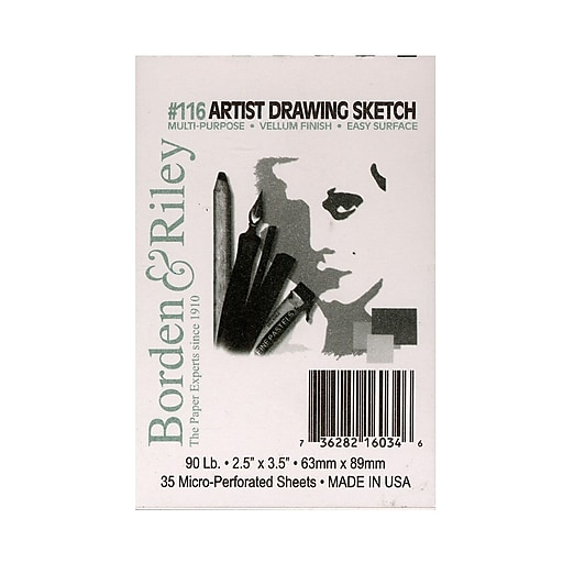 Borden and Riley #116 Artist Drawing/Sketch Vellum Pads 2 1/2 in. x 3 1/2 in. 35 sheets spiral bound [Pack of 6]