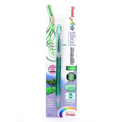 Pentel Slicci Extra Fine Metallic Gel Pens metallic green each [Pack of 6]