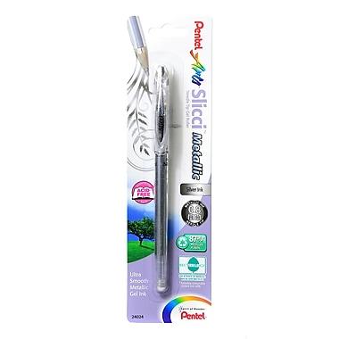 Pentel Slicci Extra Fine Metallic Gel Pens metallic silver each [Pack of 6]