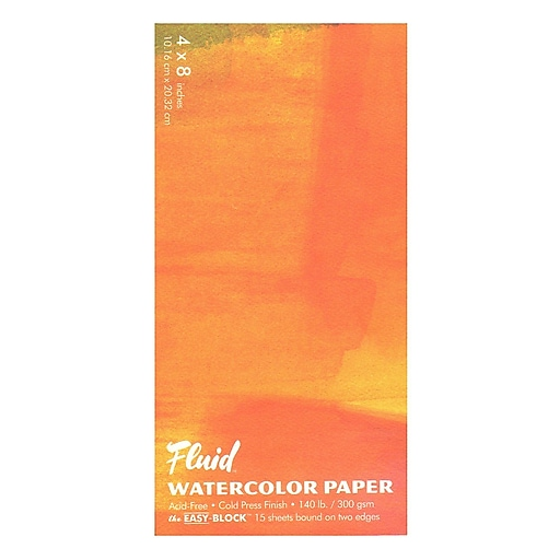 """Global Art Fluid Cold Press Watercolor Paper, 4"""" x 8"""", Block, 3/Pack (98784-PK3)"""