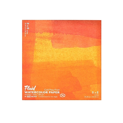 "Global Art Fluid Cold Press Watercolor Paper 8"" x 8"" Block Pack of 2 (98787-PK2)"