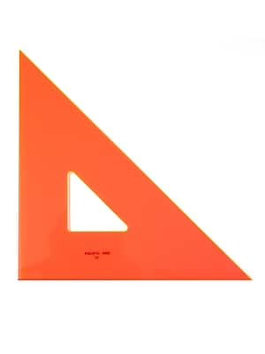 Pacific Arc Professional Fluorescent Triangles, 12in, 45/90 Degrees, 2/Pack (55082-PK2)