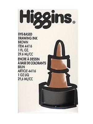Higgins Dye-Based Drawing Ink, Brown / Non-Waterproof 1 oz. [Pack of 4]