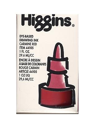 Higgins Dye-Based Drawing Ink, Carmine Red / Non-Waterproof 1 oz. [Pack of 4]