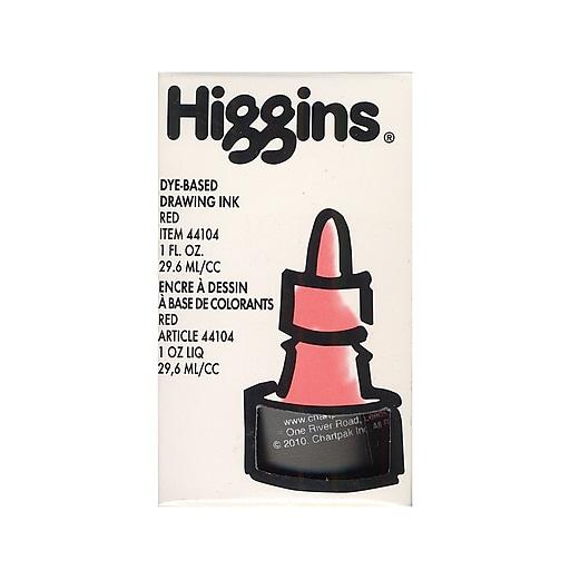 Higgins Dye-Based Drawing Ink, Red / Non-Waterproof 1 oz. [Pack of 4]
