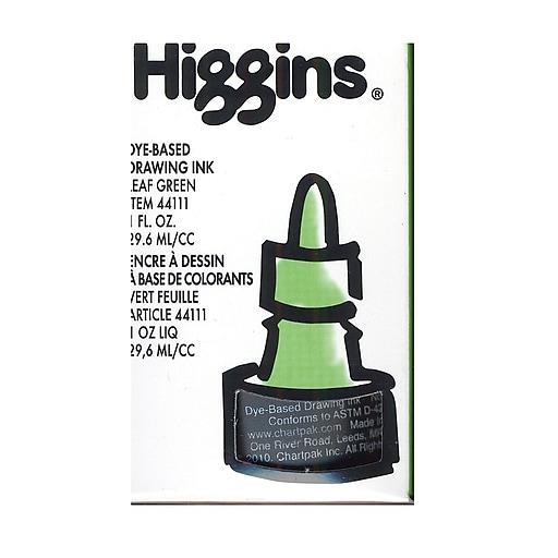Higgins Dye-Based Drawing Ink, Leaf Green / Non-Waterproof 1 oz. [Pack of 4]