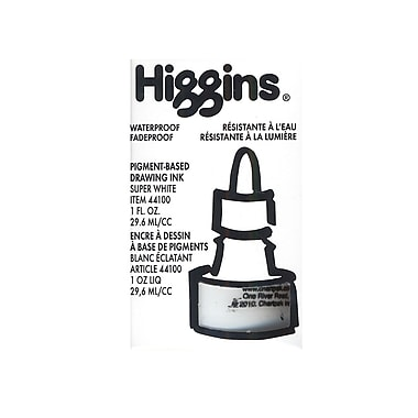 Higgins Dye-Based Drawing Ink, Super White / Non-Waterproof 1 oz. [Pack of 4]