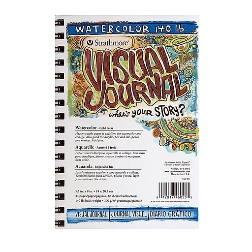 """Strathmore Visual Watercolor Journals, 140lb, 5 1/2"""" x 8"""" 22 sheets, 3/Pack (68116-PK3)"""