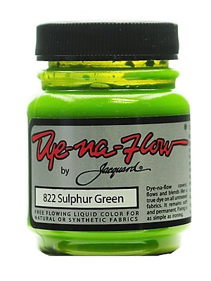 Jacquard Dye-Na-Flow Fabric Colors, Sulphur Green 822, 2 1/4 oz., Pack of 4