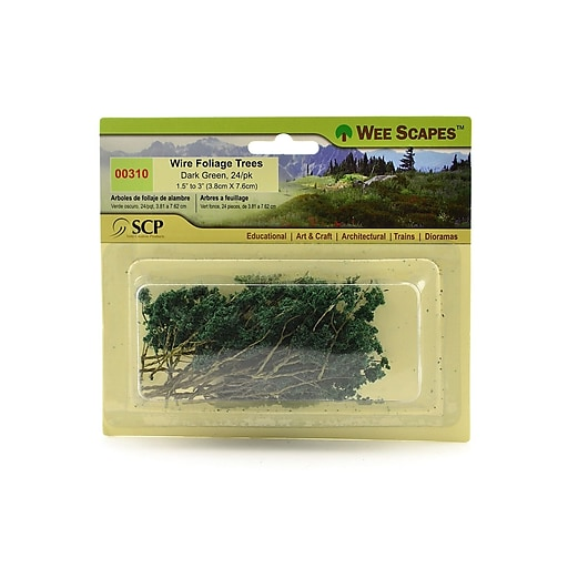 """Wee Scapes 70404-Pk3 Architectural Model Trees, Wire Foliage (Dark Green), 1 1/2"""" - 3"""", 3/Pack"""