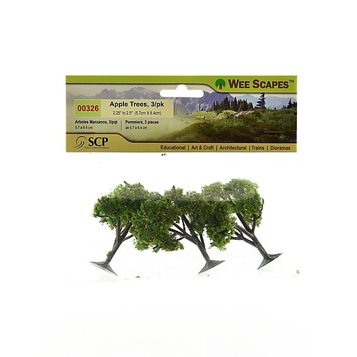 """Wee Scapes Architectural Model Trees, Apple, 2 1/4"""" - 2 1/2"""", 3/Pack"""