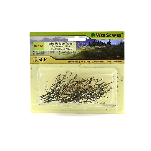 """Wee Scapes Architectural Model Trees, Wire Foliage (Dry Leaves), 1 1/2"""" - 3"""", 3/Pack (72336-Pk3)"""