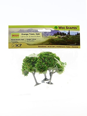 Wee Scapes 72341-PK3 Architectural Model Orange Trees, 2-1/4in to 2-1/2in, Pack of 3, 3/Pack