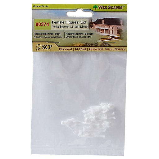 Wee Scapes Architectural Model White Styrene Figurines human females 1/4 in. pack of 5 [Pack of 3]