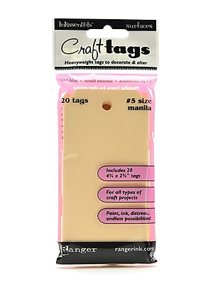 Ranger Inkssentials Craft Tags manila #5 4 3/4 in. x 2 3/8 in. pack of 20 [Pack of 4]