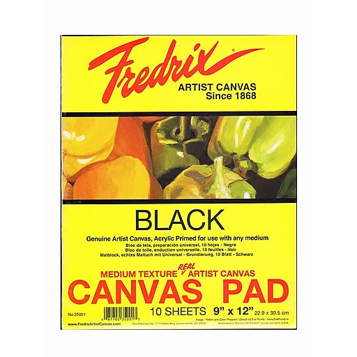 Fredrix Black Canvas Pads, 9in x 12in, 10 Sheets/Pack, 2/Packs (35550-PK2)