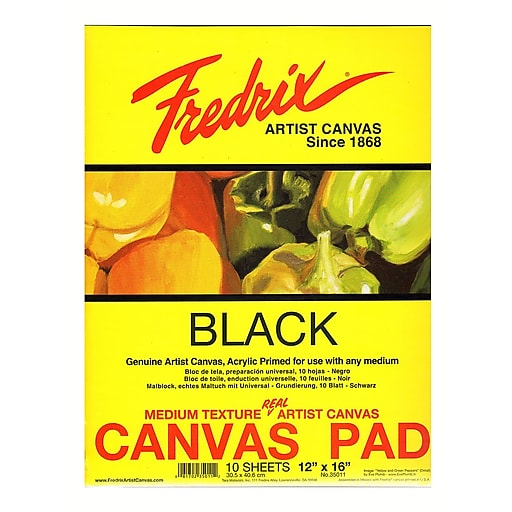 Fredrix Black Canvas Pads 12 in. x 16 in. 10 sheets