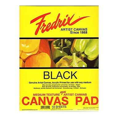 Fredrix Black Canvas Pads 16 in. x 20 in. 10 sheets