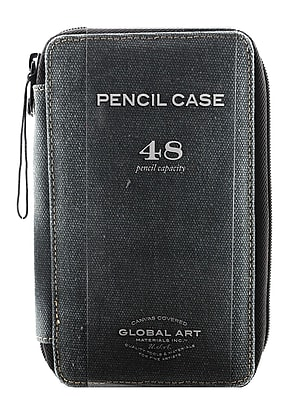 Global Art Canvas Pencil Cases steel blue holds 48 pencils