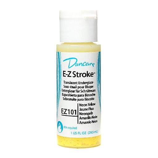 Duncan E-Z Stroke Translucent Underglaze, Neon Yellow, 1Oz, 4/Pack (30521-Pk4)