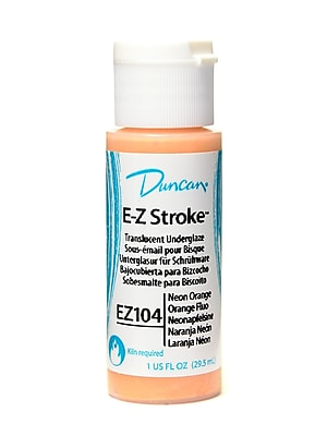 Duncan E-Z Stroke Translucent Underglaze, Neon Orange, 1Oz, 4/Pack (46676-Pk4)