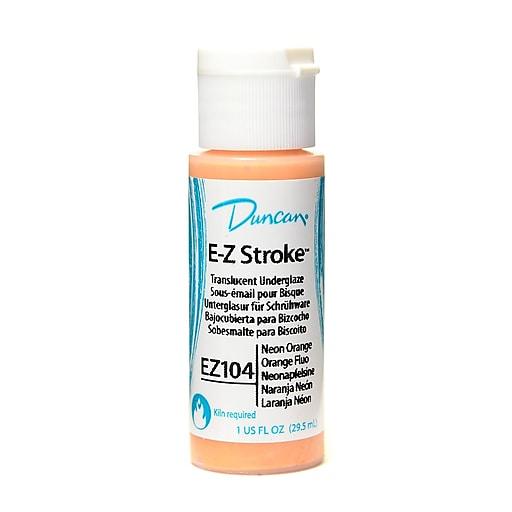 Duncan E-Z Stroke Translucent Underglaze, Neon Orange, 1Oz, 4/Pack (46676-Pk4)