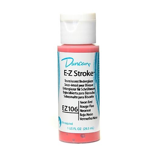 Duncan E-Z Stroke Translucent Underglaze, Neon Red, 1Oz, 4/Pack (52442-Pk4)
