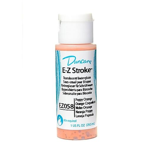 Duncan E-Z Stroke Translucent Underglaze, Poppy Orange, 1Oz, 4/Pack (66305-Pk4)