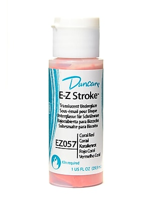 Duncan E-Z Stroke Translucent Underglaze, Coral Red, 1Oz, 4/Pack (66558-Pk4)