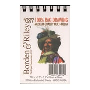 "Borden And Riley #627 100% Rag Drawing Paper Pad, 2 1/2"" X 3 1/2"", 50 Sheets, 6/Pack (46806-Pk6)"
