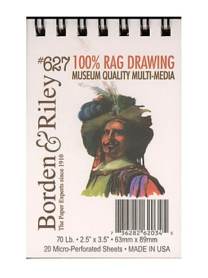 Borden And Riley #627 100% Rag Drawing Paper Pad, 2 1/2