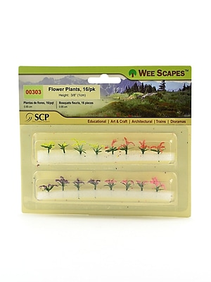 Wee Scapes 72292-PK3 Architectural Model Flowers Plants and Hedges, Red, Pink, Yellow, and Purple, 3/8