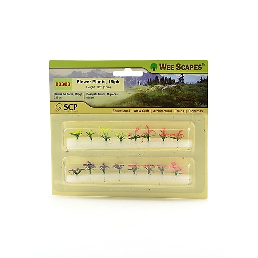"""Wee Scapes 72292-PK3 Architectural Model Flowers Plants and Hedges, Red, Pink, Yellow, and Purple, 3/8"""", 3/Pack"""