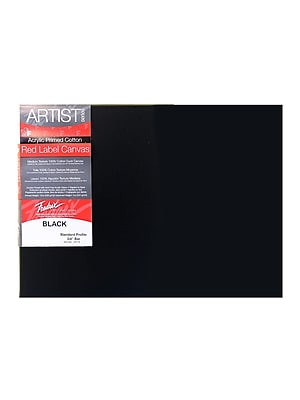 Fredrix Red Label Black Stretched Cotton Canvas, 12