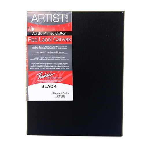 """Fredrix Red Label Black Stretched Cotton Canvas, 14"""" x 18"""" (91072)"""