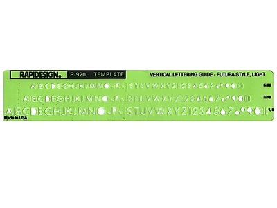 Chartpak Rapidesign Lettering Guides, Futura Light, 5/32 in., 3/16 in., 1/4 in.