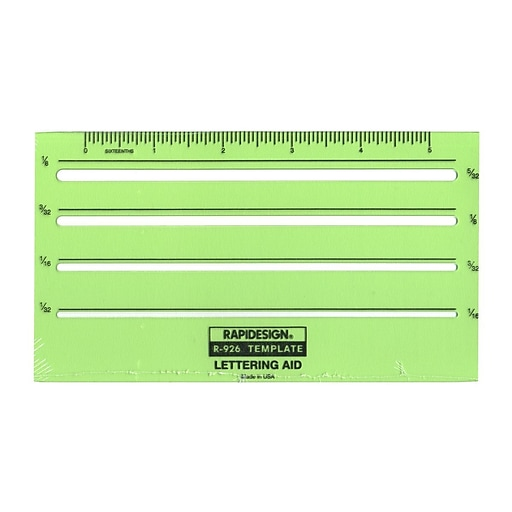Chartpak Rapidesign Lettering Guides, Lettering Aid, 1/16 in., 3/32 in., 1/8 in., 5/32 in.