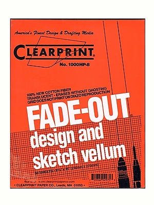 Clearprint Fade-Out Design and Sketch Vellum - 8x8 Grid Pad, 8 1/2 in. x 11 in., 50 sheet pad