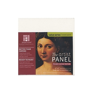 Ampersand The Artist Panel Canvas Texture Flat Profile 4 in. x 4 in. 3/8 in. [Pack of 4]