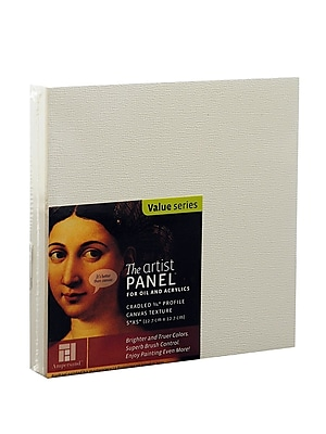 Ampersand The Artist Panel Canvas Texture Cradled Profile 5 in. x 5 in. 3/4 in. [Pack of 3]