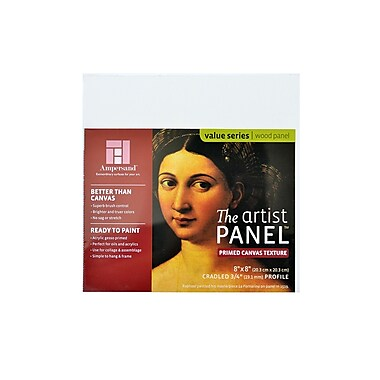 Ampersand The Artist Panel Canvas Texture Cradled Profile 8 in. x 8 in. 3/4 in. [Pack of 3]