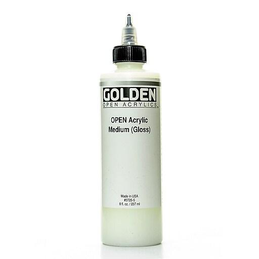 Golden OPEN Acrylic Mediums, Fluid Medium Gloss 8oz (93590)