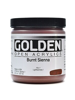 Golden OPEN Acrylic Colors, Burnt Sienna, 8oz Jar (59708)