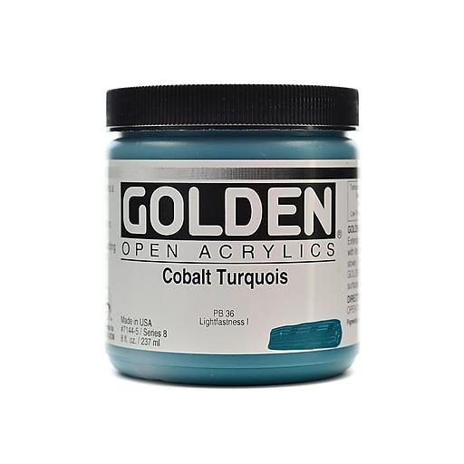 Golden OPEN Acrylic Colors cobalt turquoise 8 oz. jar