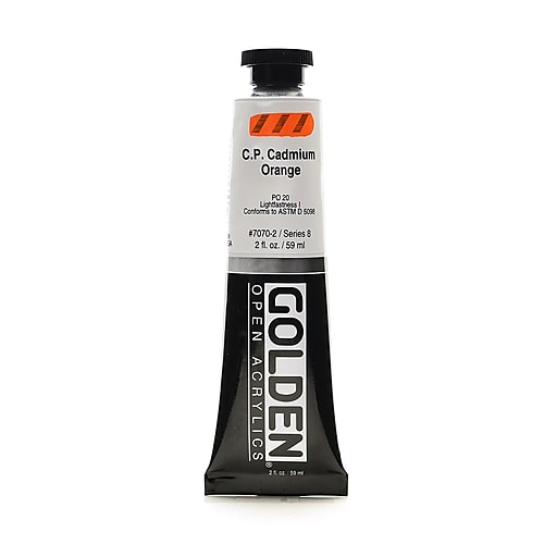 Golden OPEN Acrylic Colors Cadmium Orange (CP) 2 oz. Tube (93599)