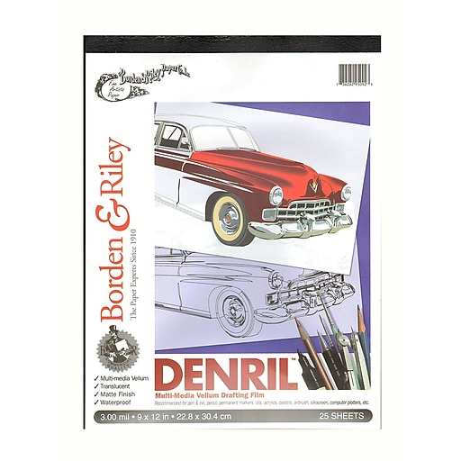 """Borden and Riley Denril Vellum Pads, 9"""" x 12"""" Pad of 25 (67783)"""