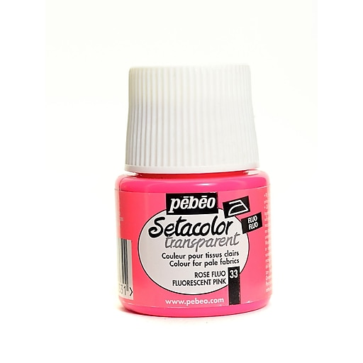 Pebeo Setacolor Transparent Fabric Paint fluorescent pink 45 ml [Pack of 3]