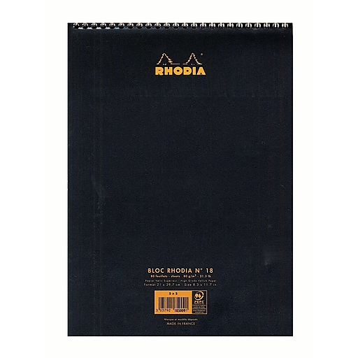 "Rhodia Wirebound Notebooks, Graph, 8-1/4"" X 12-1/2"", Black, 5/Pack (92618-Pk5)"