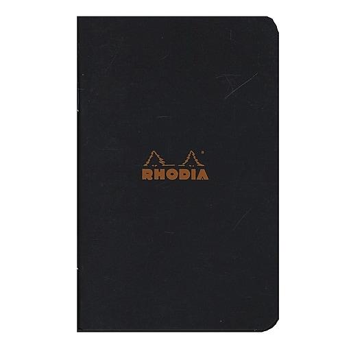 "Rhodia Staplebound Notebooks Graph, Black Cover, 3"" x 4-3/4"", 24 Sheets, 10/Pack (92590-Pk10)"